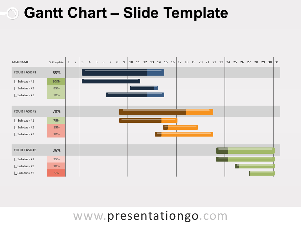 Gantt Chart For Powerpoint And Google Slides Presentationgo Com Gantt Chart Gantt Chart Templates Gantt