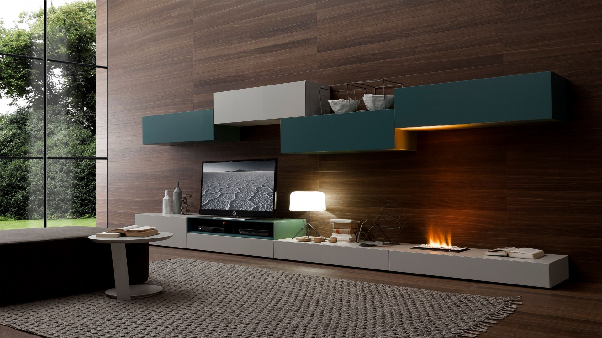 cozy rooms design with a modern fireplace ideas interior fireplace awesome indoor floating custom shelves low white wooden tv cabinet dark wood wall panels - Modern Wall Paneling Designs