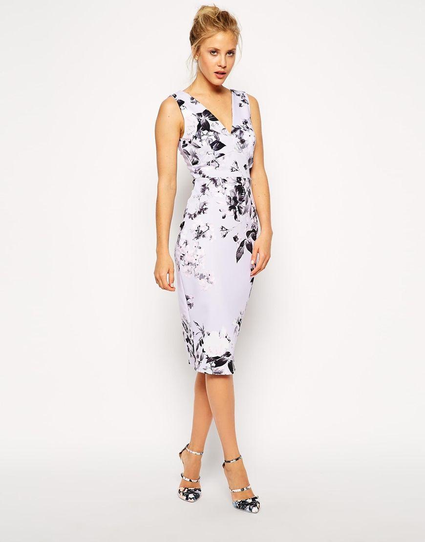 Women\'s Purple Lilac Floral Pencil Dress