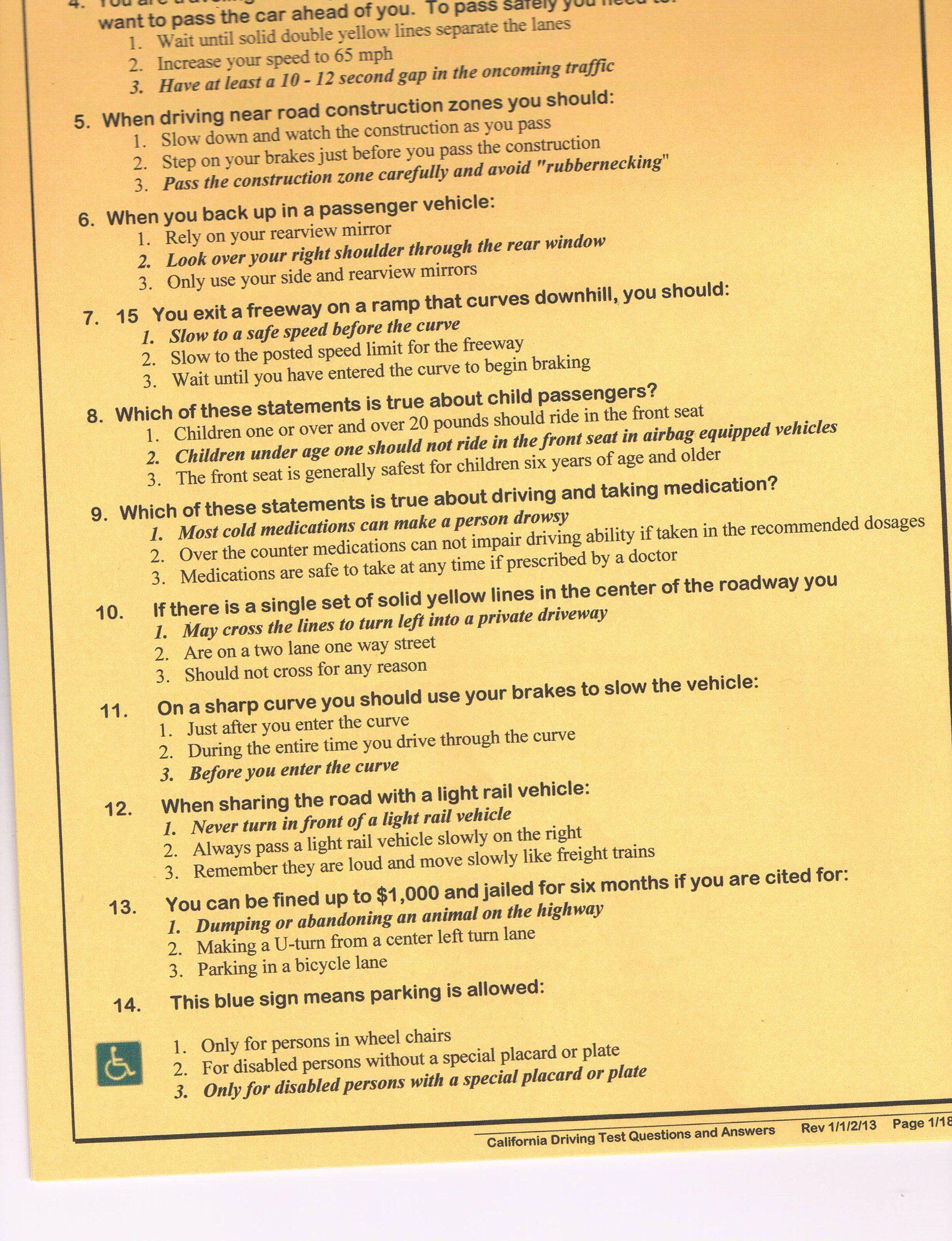 California Dmv Driving Written Test .