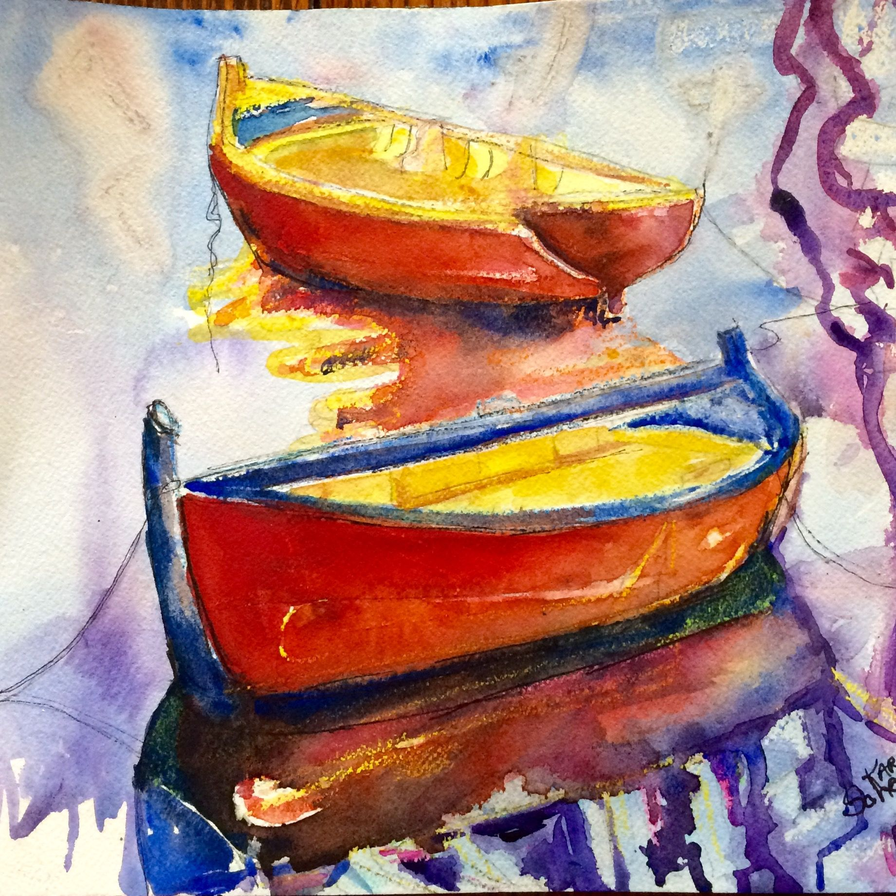 Watercolor artist in texas -  Beginning Of A Fleet By Texas Watercolor Artist Karen Scherrer