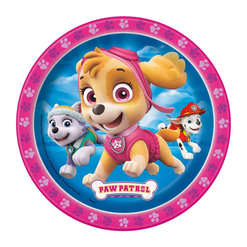 Paw Patrol(TM) Pink Paper Dessert Plates  8 Ct  - Girl paw patrol party, Paw patrol decorations, Skye paw patrol party, Paw patrol birthday party, Paw patrol birthday theme, Paw patrol girl - With the help of Skye and the Paw Patrol, serve up their favorite birthday sweets and treats with these disposable plates! Not just for sweets, you can add these paper plates to appetizer or snack tables, too  Find our full selection of Paw Patrol party supplies throughout this site! Paper  (8 pcs  per unit) 7  © Viacom International