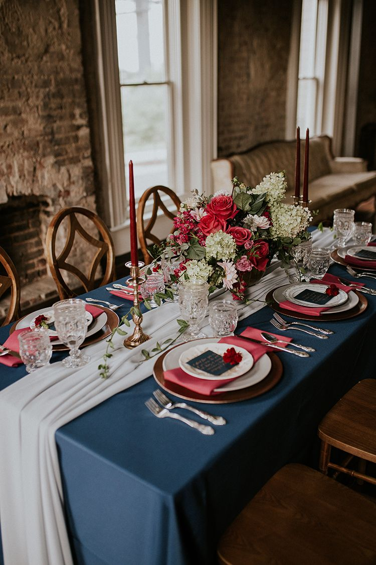 Artist Inspired Wedding Ideas With Oxblood And Navy Ruffled Fall Wedding Table Decor Blue Table Settings Wedding Colors Blue