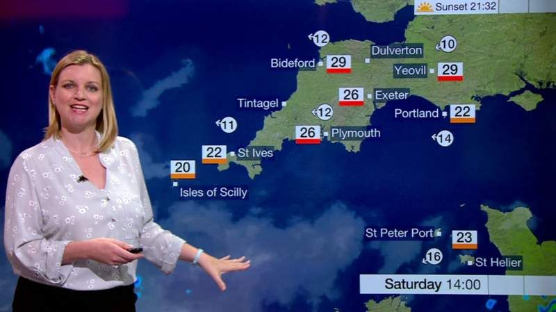 Emily Wood Weather Host Spotlight Points West South Today Emily Wood St Helier Bbc News