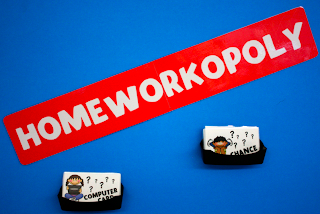 Homework can be fun with    is part of Classroom Organization Homework - incentive system I use in class  This summer, I adapted the gameboard to meet the needs of my class and to match our room  There are two files if you are interested    1  Homework Board 2  Homework Cards How to Play Each student who has completed all homework assignments for the week gets one turn  If a student lands on  Chance  or  Computer Card , they will get the prize shown on that card (see below for prizes)  If a student lands on  Spelling Question  or  Math Question , they must answer a review question (this is the part the teacher loves!!) Some things that have worked well I found these really great business card holders on Amazon this summer  I hot glued them to the bulletin and board to hold the game cards  As for the prizes, I keep them pretty simple and inexpensive  Currently, our prizes include Use a pen all day Choose a book for the classroom library from the next book order Homework Pass Though we are well into the school year, Homeworkopoly is still a big hit every week!