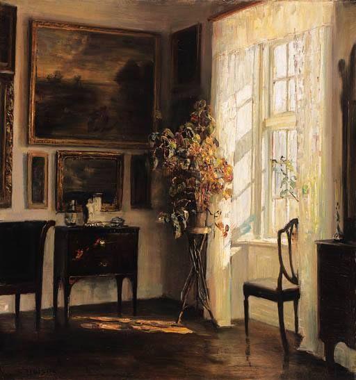"""Carl Vilhelm Holsøe (Danish 1863 - 1935) - """"A Sunlit Interior"""" (sd)  Holsøe è uno dei pittori danesi del silenzio. Grazie a Mauro per la segnalazione dell'opera (Sig)"""