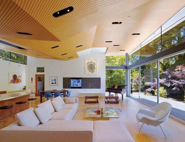 Simple wohnzimmer deckengestaltung ideen offen einbauleuchten dielenholz