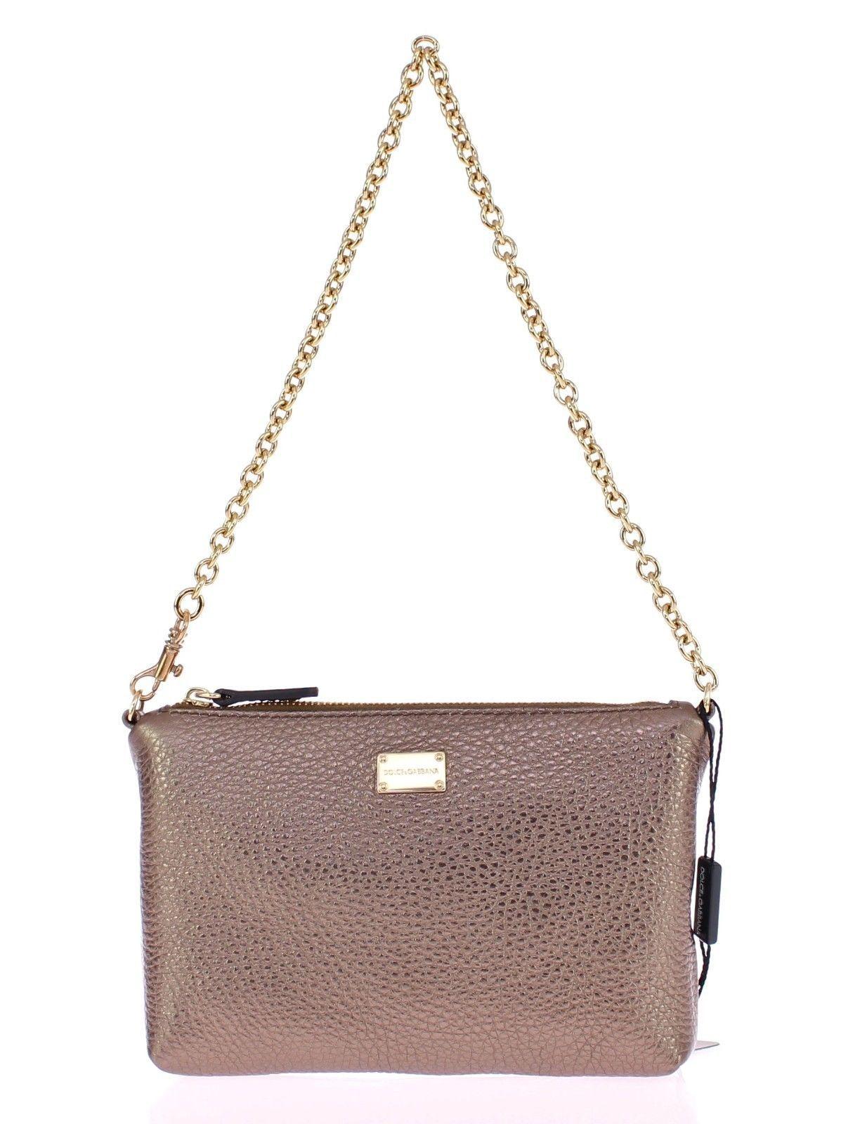 $630 Dolce Gabbana Bronze Metallic Leather Miss Glam Shoulder Clutch Bag | eBay