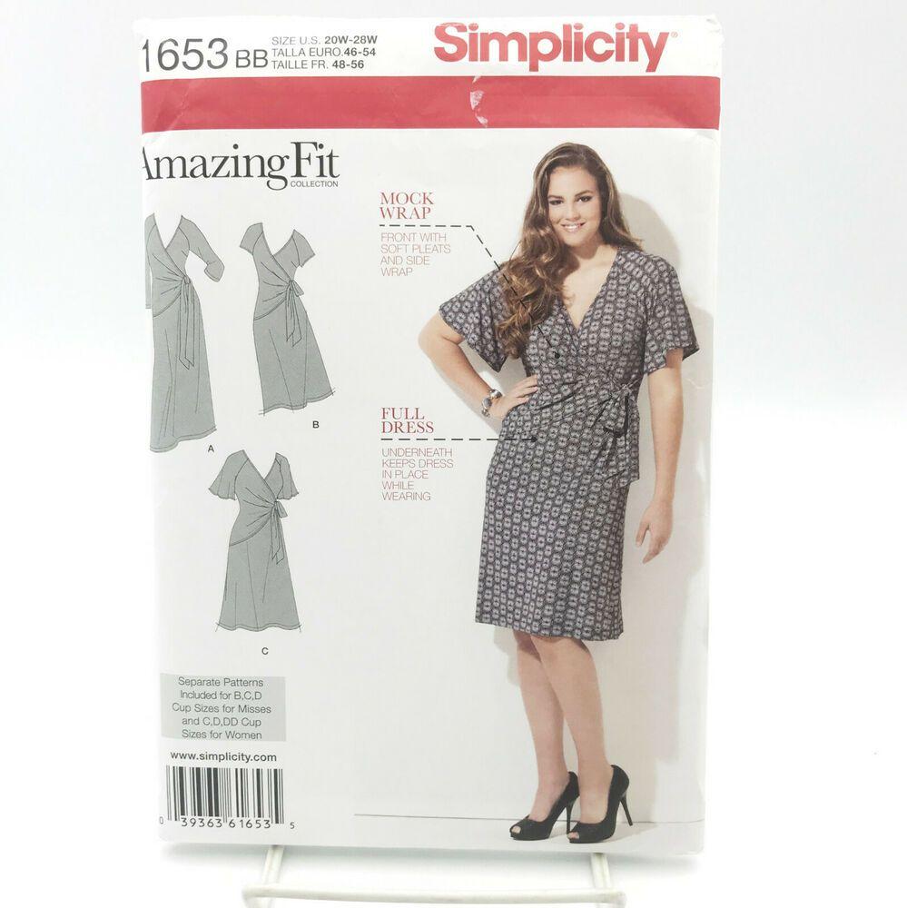Simplicity 1653 Womens Plus Size Mock Wrap Dress Sz 20w 28w Uncut Sewing Pattern 39363616535 Ebay Fitted Knit Dress Knit Dress Pattern Knit Dress [ 1000 x 999 Pixel ]