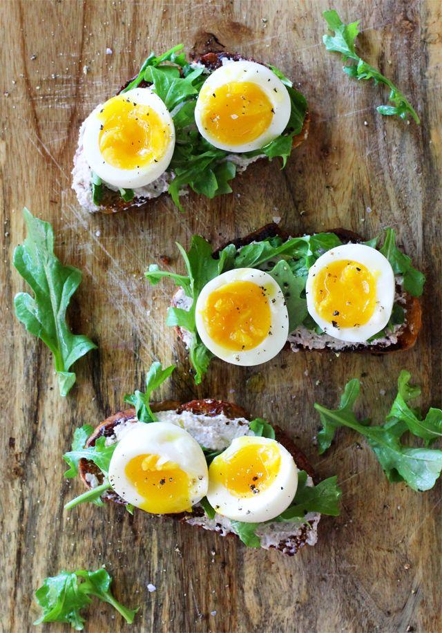 Walnut Ricotta Crostini with Arugula and Soft-Boiled Eggs by kitchenkonfidence: Thanks to @S A M U E L ✖ M A C H E L L ! #Crostini #Eggs #Walnuts