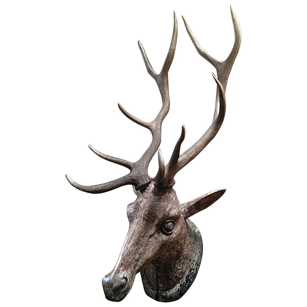 Carved Stag's Head with Real Antlers