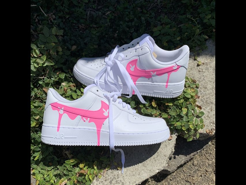 Playboy Pink Drip Airforce 1 low in 2020 Nike shoes air
