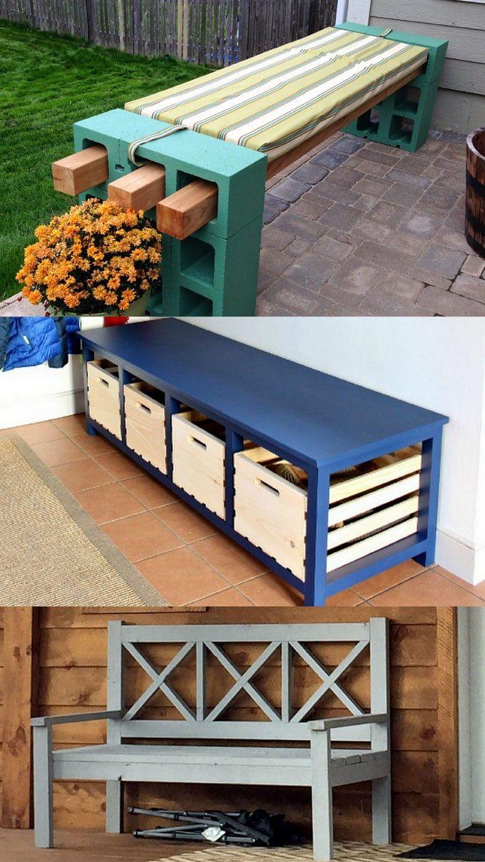 21 Gorgeous Easy DIY Benches (Indoor & Outdoor!) in 2020 ...