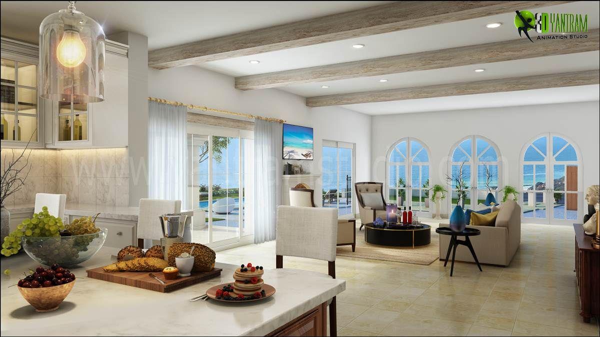 3d Residential Kitchen To Living Room Design Interior Rendering
