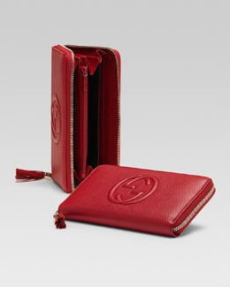 V1d11 Gucci Soho Leather Zip Around Wallet Red Gucci Pinterest