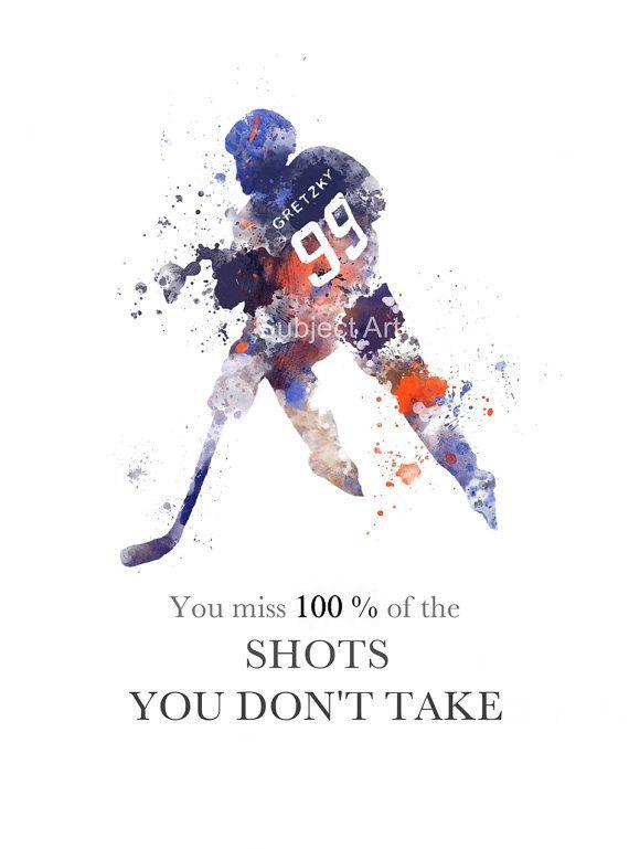 Wayne Gretzky Quote ART PRINT illustration NHL Ice by SubjectArt