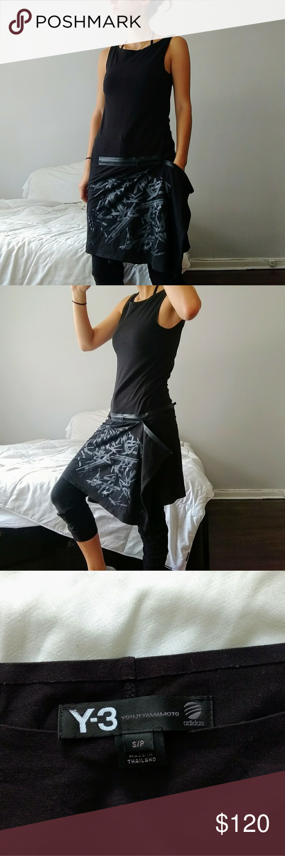 Y-3 ASYMMETRIC EMBOSSED DRESS Asymmetric tank dress with design on front of skirt and zipper to adjust skirt drape. Never worn and in perfect condition. Y-3 Dresses Midi