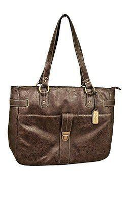 Nunzia Bambino Tote Diaper Bag Antique Dark Brown
