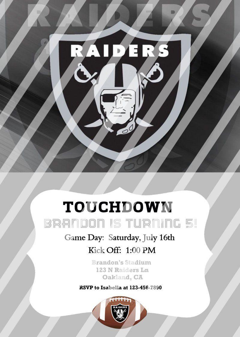 Oakland Raiders Personalized Digital Party Invitation 15 Any