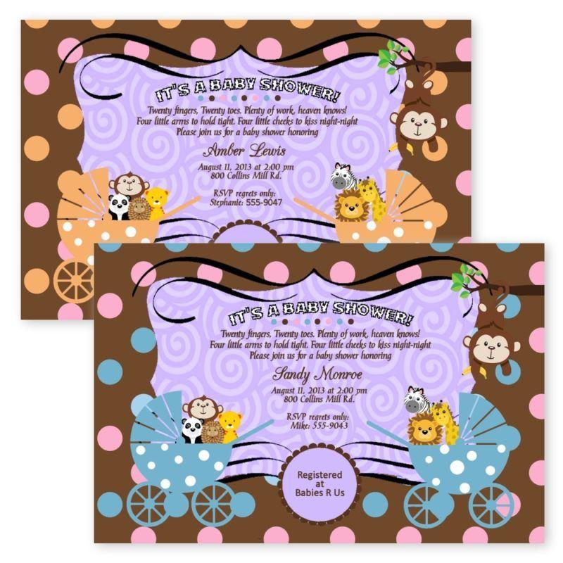 Baby Shower Invitations Jungle Monkey Carriage TWIN Boy Girl Safari ...