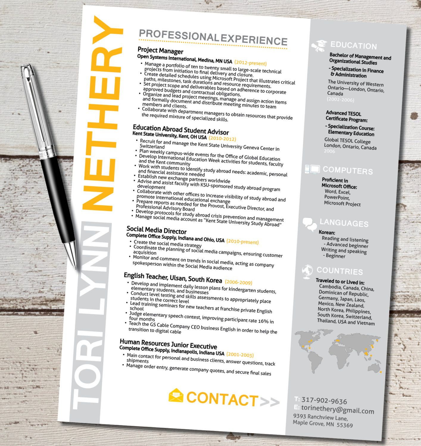 The Tori Lynn Resume Design  Travel For Work  Marketing