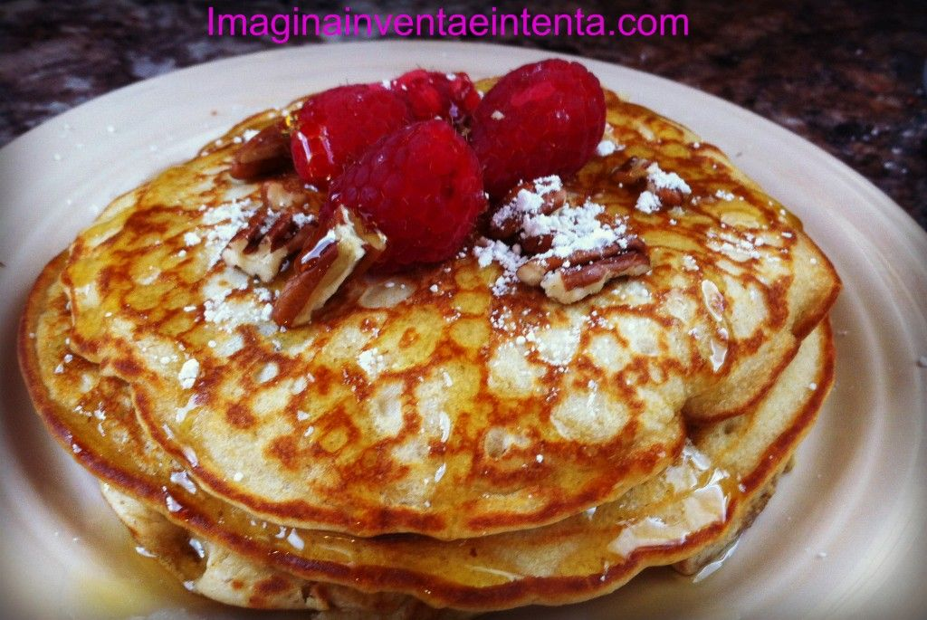 Oatmeal Pancakes with Butter Pecan Syrup (IHOP Copycat)