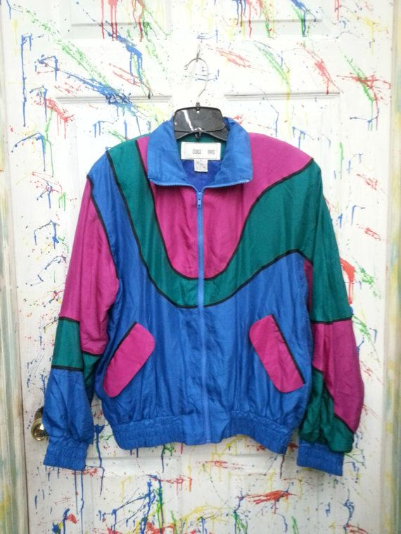 Vintage 80's windbreaker jogging swish zip up jacket for both men and women size Medium Large Blue Pink Teal Abstract Design 1980s by RagsAGoGo, $28.00
