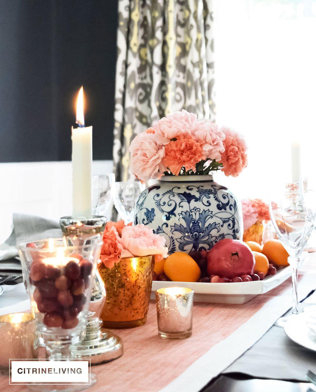 A THANKSGIVING TABLESCAPE Ceramic flower pots