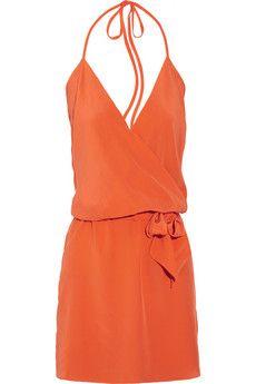 silk georgette wrap effect dress ++ haute hippie