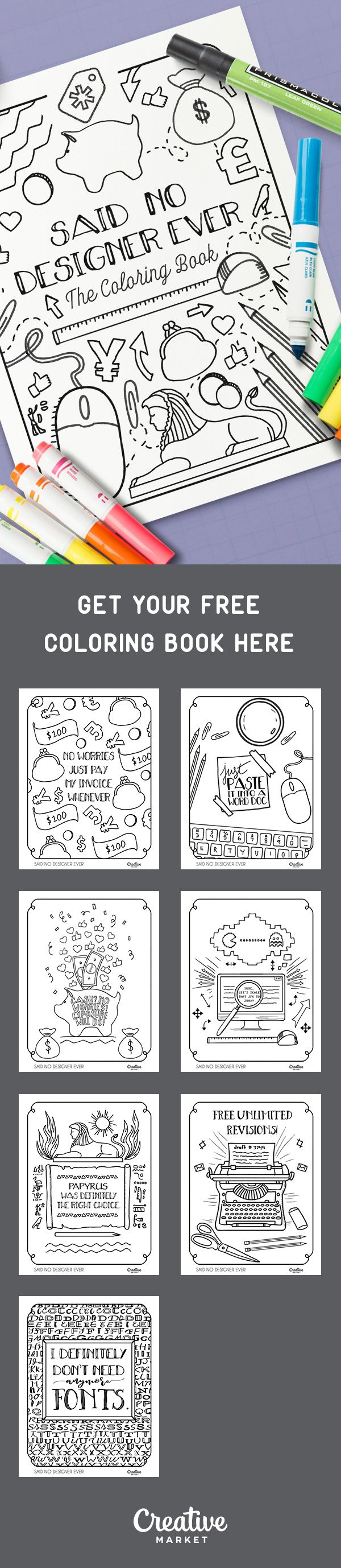 On the Creative Market Blog - Free printable Coloring Book for designer