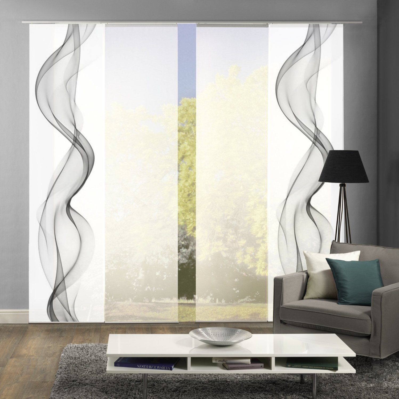 4er set fl chenvorhang alberta h he 245 cm 2x deko bedruckt grau 2x uni weiss. Black Bedroom Furniture Sets. Home Design Ideas