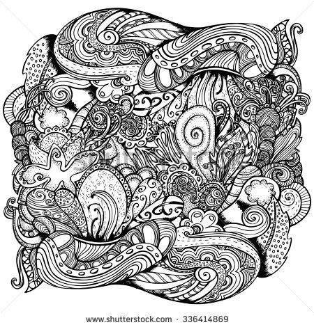 Vector Pattern For Coloring Book Ethnic Retro Design In Zentangle Style With Abstract Elements