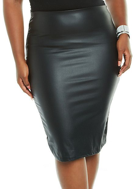 78dac20ff Plus-Size Leather-Look Pencil Skirt from Rainbow   Things I Want ...