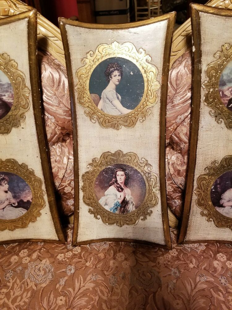 f6ce808756 Set of 3 Vintage Italian Wood Tole Wall Hangings Ladies Portraits Mona Lisa  Gold  Italian