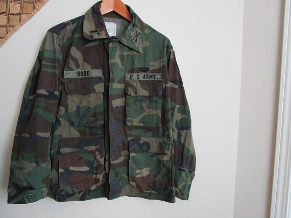69df1adce68a4 Vintage Army Camouflage Jacket, Camo Coat, US Army, badges and rank patch,  Camouflage Field Jacket,