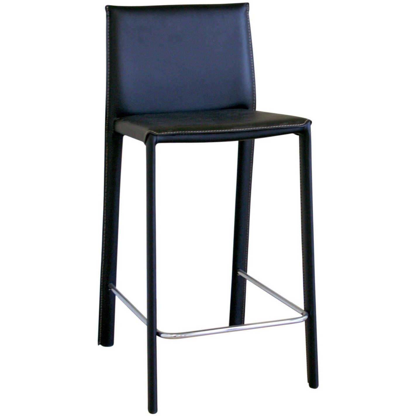 Baxton Studio Crawford Black Leather Counter Height Stools