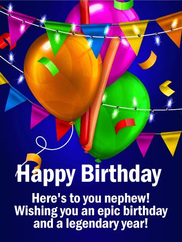 Wishing You An Epic Day Happy Birthday Card For Nephew Birthday Greeting Cards By Davia Happy Birthday Nephew Birthday Card For Nephew Birthday Greetings For Nephew