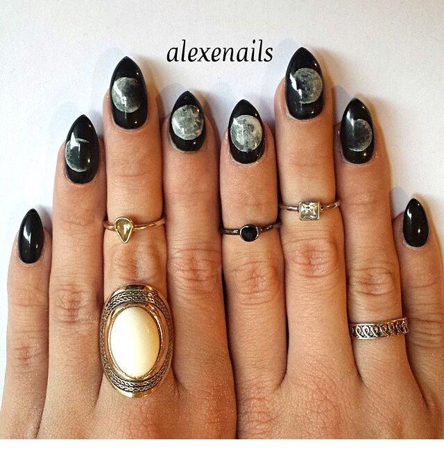 Black Moon Phase Almond Shaped Nails | Moon nails, Almond ...