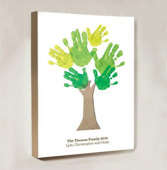 Family Tree Handprint Personalised Canvas Handprint Art Family Tree Painting Family Tree Project Hand Print Tree