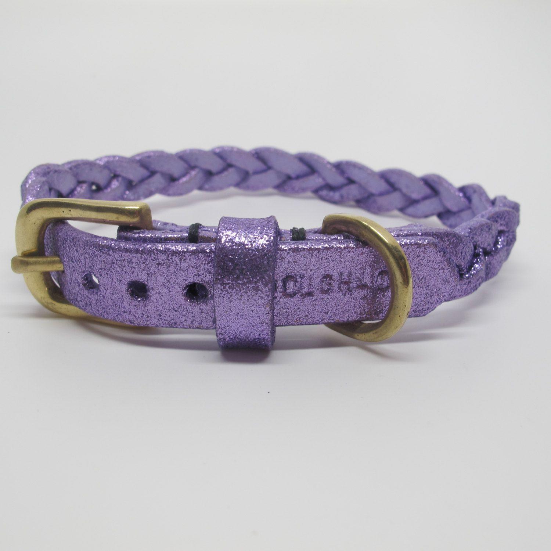 Purple Glitter Plaited Leather Dog Collar Leather Dog Collars