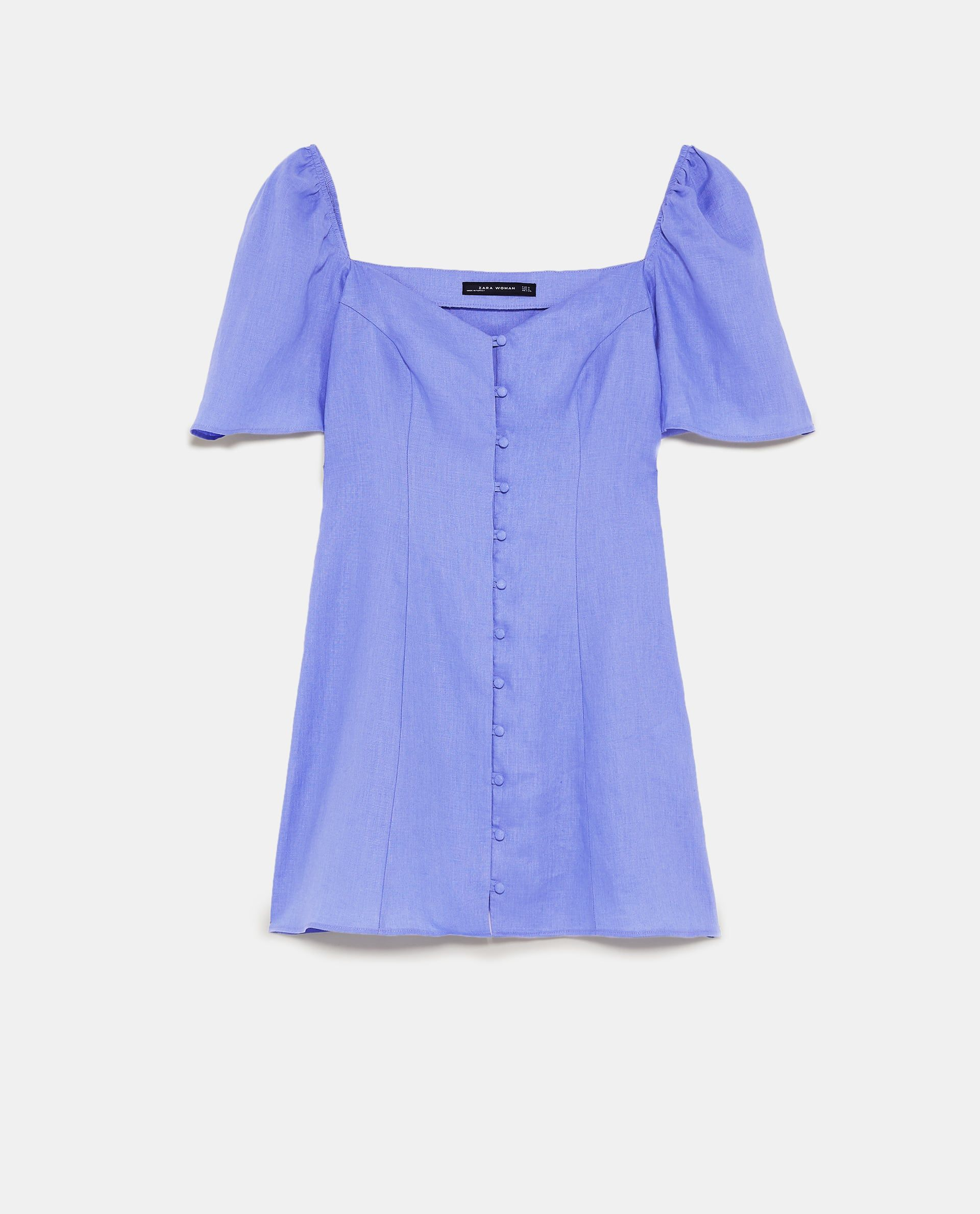 4434e03d39e Image 8 of LINEN DRESS WITH PUFF SLEEVES from Zara
