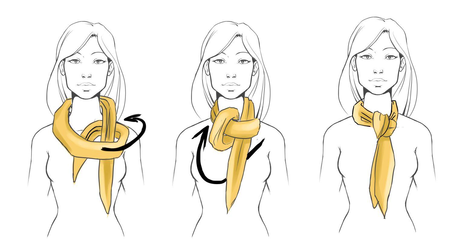 Завязывание шарфа в картинках