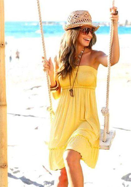 BEACH TIME Bandeau-Strandkleid, gelb
