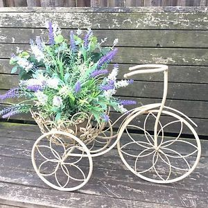 Vintage Bike Planter Antique Cream Rustic Retro Basket Metal Garden Ornament  New