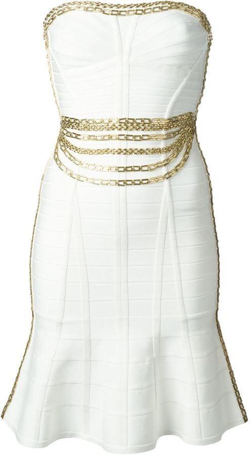 Hervé Léger chains embellished body con dress