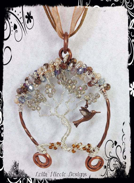 Hand Made Tree of Life Pendant Wire Wrapped Copper & Sterling Silver with Hummingbird OOAK - T2 on Etsy, $40.00