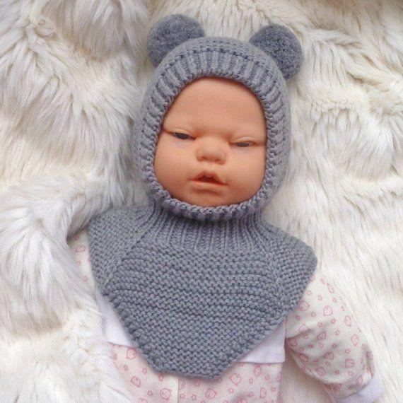 Photo of Balaclava hat with pompom for baby boy, winter helmet hat of merino yarn