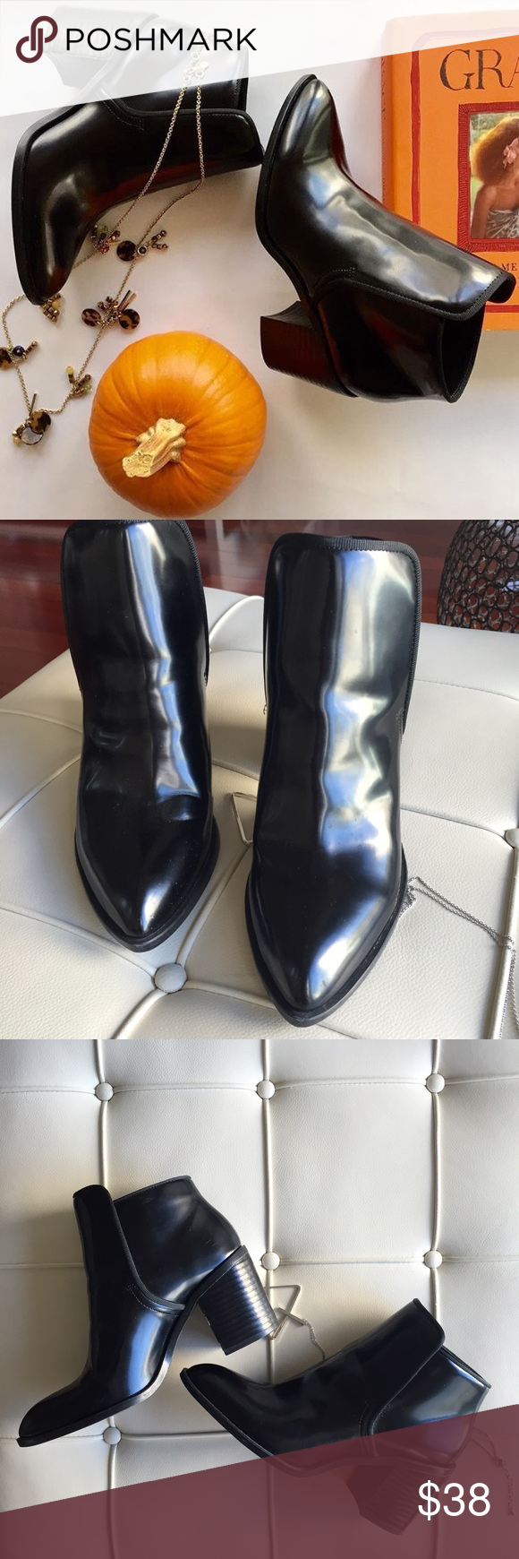 """[zara] black ankle boots These chunky 3"""" ankle boots can be worn all year round! Wear w shorts or skirts this summer to give you an extra bit of height. Excellent condition except for minor scratches on inner left side of boot as pictured. Totally unnoticeable when worn. Heels look unworn bc they've not made out of the house more than twice!! Minimally worn; excellent condition. zara EU size 37; would best fit size 6.5 Zara Shoes Ankle Boots & Booties"""