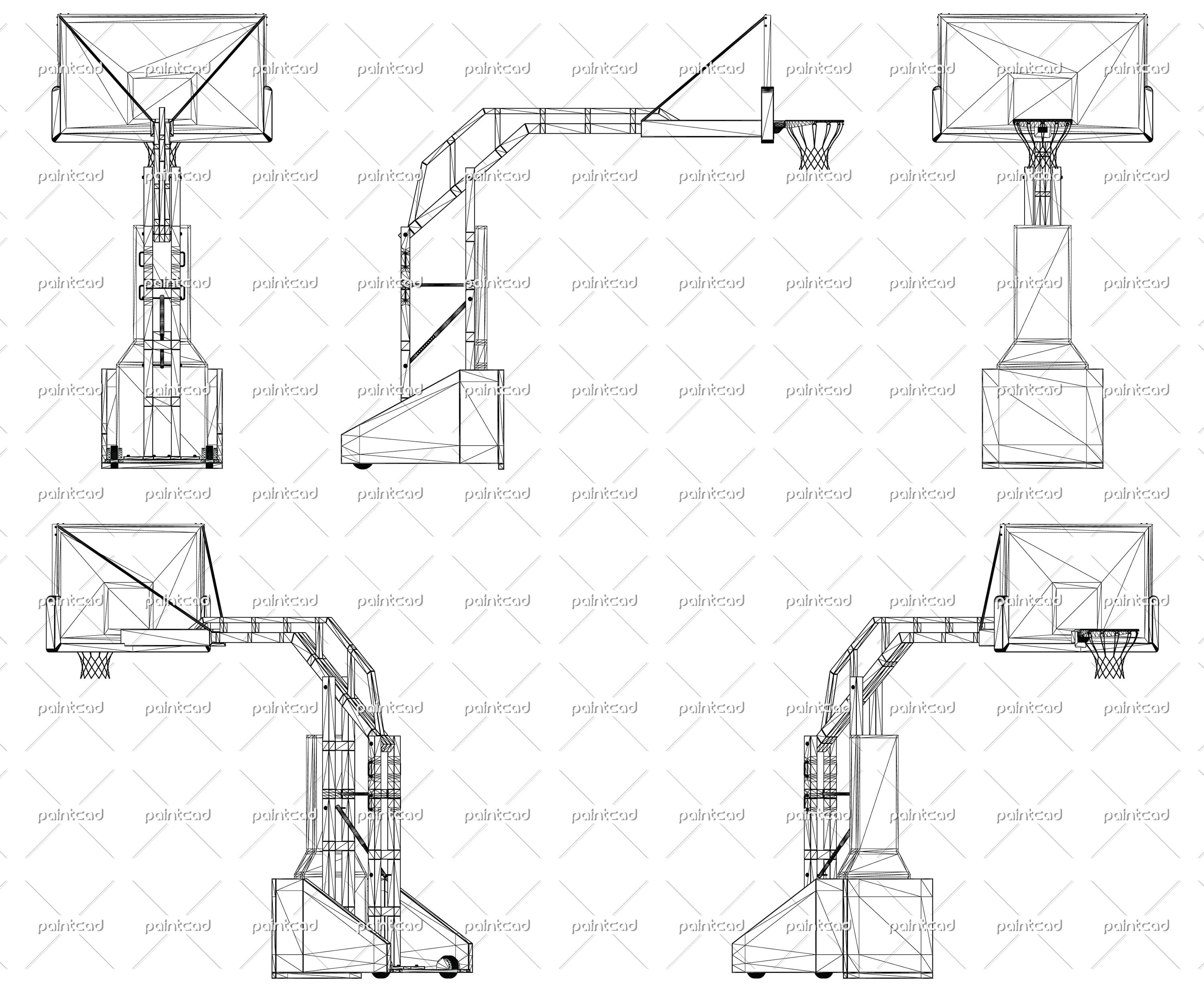 wireframe design of professional basketball stand wireframe
