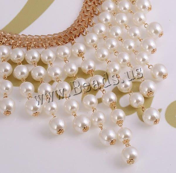 Perlas de plástico ABS collar, con cadena de hierro & aleación de zinc, con 7.5cm extender cadena, chapado en color dorado, cadena de la raspa de arenque, 13x130mm, Vendido para aproximado 17 Inch Sarta,Abalorios de joyería por mayor de China